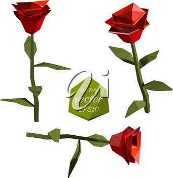 Red Roses in the low poly style. Vector illustration