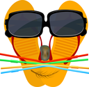 Merry playful face of a flip flops,, glasses, stone, straw and algae cocktail. Beach concept. Icon summer holiday on the beach. Objects on a beach - illustration for the tourism agency. Beach activiti