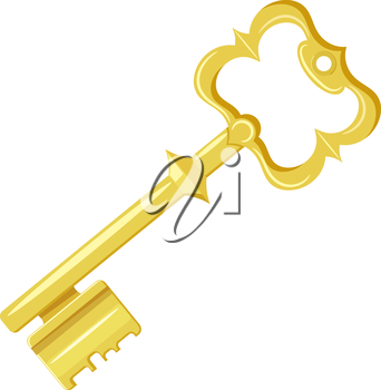 Vector illustration of vintage gold key on a white background. Cartoon style. Retro object for your design. Stock vector