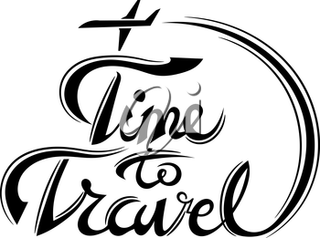 Lettering - time to travel. Illustration of vacation of the summer season � time to travel. Airplane with trace lettering and time to travel. Travel by plane. Vector illustration. Stock vector.