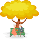 Old men on the bench. Elderly couple on a park bench under the yellow autumn tree.  Illustration of a happy marriage. Harmony in old age. Stock vector illustration