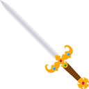Antique vintage two-handed sword with a jeweled. Cartoon style. Isolate on white background. Stock vector illustration