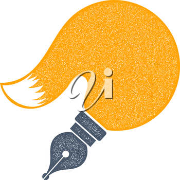 Abstract vector pen tip with yellow fox tail on a white background. Grunge texture. Journalism symbol. Sign journalist. Stock vector illustration