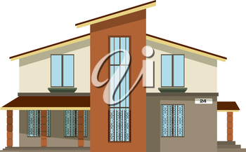 Flat style. Cartoon building. Modern two-storey private house with a sloping roof on a white 