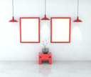 Mockup gallery interior. Paintings with a blank canvas and light gray walls plastered. Red bench, lamp and picture frames. 3D-rendering