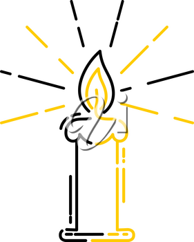 Lit candle, religious pictogram in a linear style. Linear icon. Isolated on white background. Vector illustration.