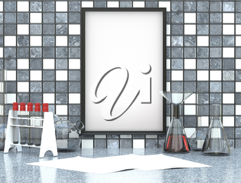 Mock up with chemical vessels and flasks on a marble table and frame with a clean canvas. 3d illustration
