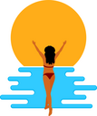 Abstract  image of a young beautiful girl on the beach. Flat simple figure of a girl and waves. Vector illustration