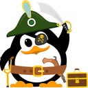 Abstract cute penguin in a pirate costume on a white background. Flat style child penguin in a hat, with a crutch, chest, gun and saber. Vector illustration