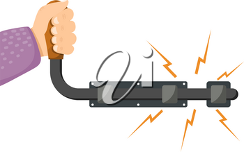 Vector illustration of an open metal latches with hand on a white background. Isolated object. Vector Latches