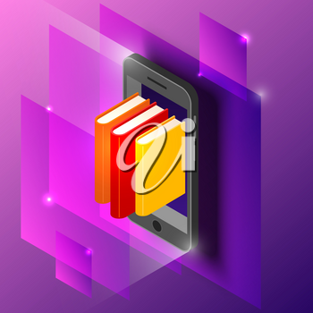 Concept of e-learning at a distance using a mobile phone on a purple background. Vector illustration of phone and books in isometric style.