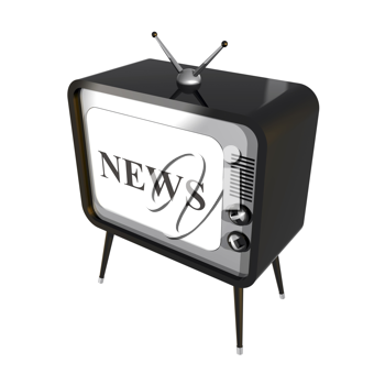 Royalty Free Clipart Image of a Retro Television With the Word News on Its Screen
