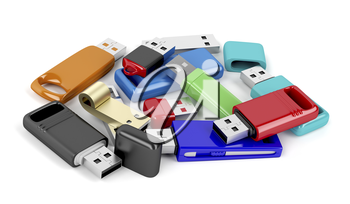 Bunch of usb memory sticks with different designs and colors