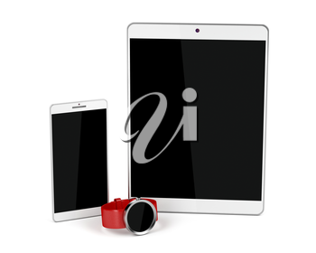 Tablet computer, smartphone and smartwatch on white background
