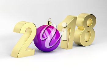 3D illustration of number 2018 with Christmas ball