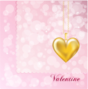 Royalty Free Clipart Image of a Valentine With a Gold Heart Locket