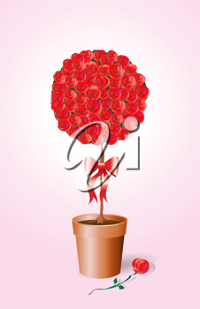 Royalty Free Clipart Image of a Rose Bush Tied With a Bow