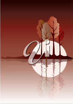Royalty Free Clipart Image of Trees Reflected on Water