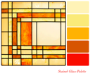 Stained glass panel in warm tones, with complimentary colour swatches