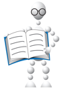 Royalty Free Clipart Image of an Android in Glasses With a Book