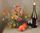 Two orange peach, bouquet and red wine. Close-up. Abstract still-life on textile linen backdrop.