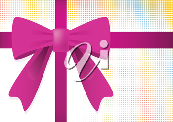 Ribbon and purple bow for gift on tiles background. Vector illustration.