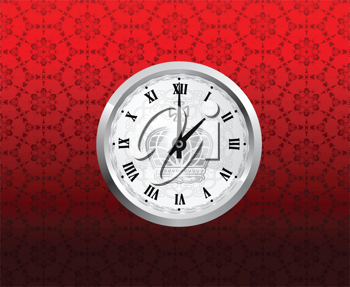 Royalty Free Clipart Image of a Vintage Clock on a Wall