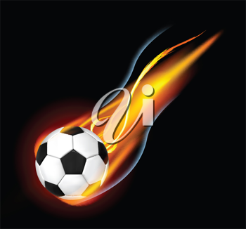 Royalty Free Clipart Image of a Flaming Soccer Ball