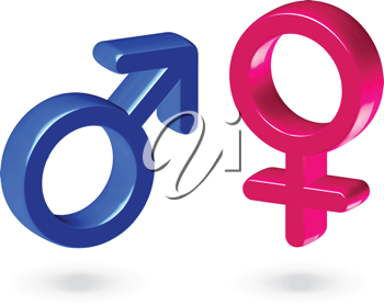 Royalty Free Clipart Image of Male and Female Gender Symbols