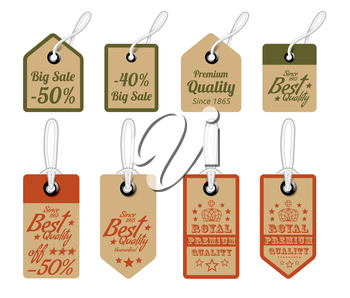Vintage Style Sale Tags Design. Vector illustration