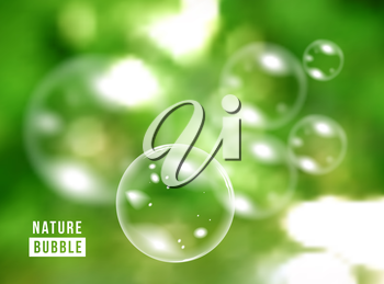 Blurred natural vector background with soap bubbles