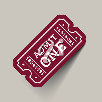 Vector Vintage Ticket Icon on beige background