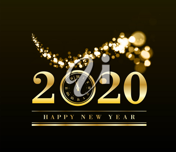 Happy New Year 2020 with gold particles and a clock in the number zero. Vector golden illustration on a dark background.