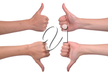 Royalty Free Photo of Thumbs Up and Down