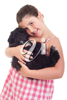 Royalty Free Photo of a Girl Holding Her Dog