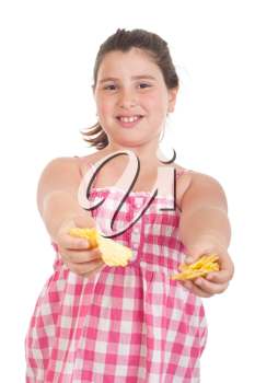 Royalty Free Photo of a Little Girl Eating Chips