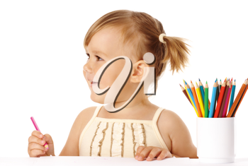 Royalty Free Photo of a Little Girl With Crayons in a Cup