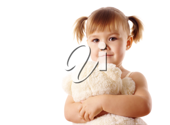 Royalty Free Photo of a Little Girl With a Teddy Bear