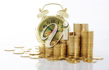 Royalty Free Photo of an Old-Fashioned Clock With Gold Coins