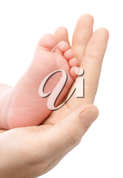 Royalty Free Photo of a Mother Holding a Newborn Baby's Foot