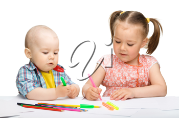 Royalty Free Photo of Children Colouring