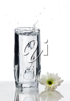 Glass of Water with splash and flower on isolated white background