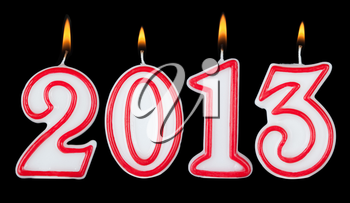 Happy new year 2013 candle digits isolated on black background