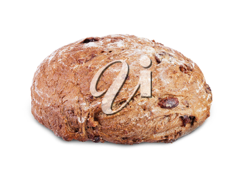 loaf of  sour cherry and walnut rye bread isolated on white background