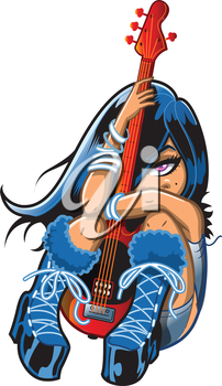 Royalty Free Clipart Image of a Girl Hugging a Guitar