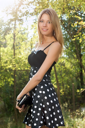 Royalty Free Photo of a Girl in a Polka Dot Dress