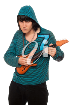 Royalty Free Photo of a Guy With a Toy Guitar