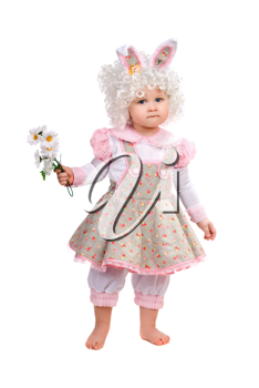 Royalty Free Photo of a Little Girl Wearing Bunny Ears Holding Flowers