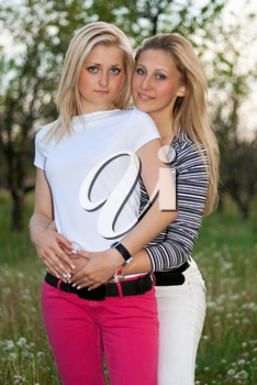 Royalty Free Photo of Two Girls Outside