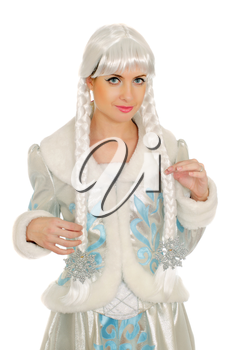Closeup portrait of a cute Snow Maiden. Isolated
